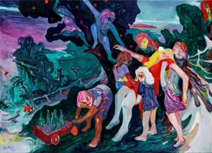 Hen Nights by Rao Fu contemporary artwork painting, works on paper