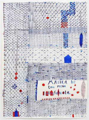 A glimpse of beautiful things (Malika he tau mena fulufuluola) by John Pule contemporary artwork works on paper, drawing