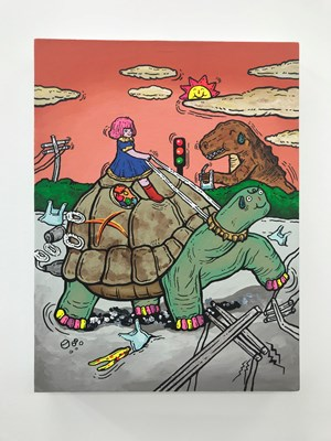 The Thirsty Dinosaur and The Million Years Tortoise by Yuree Kensaku contemporary artwork