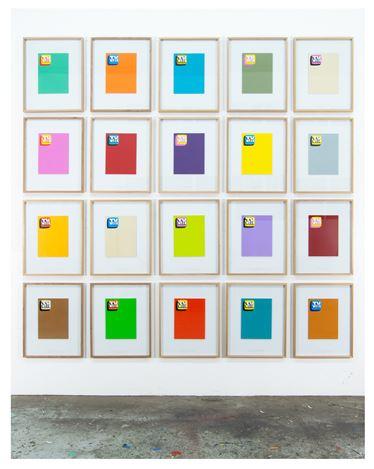 Peter Atkins' 2019 TV Week series of paintings in his Melbourne studio. Courtesy Tolarno Galleries