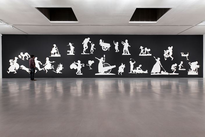 Exhibition view: Kara Walker, THE SOVEREIGN CITIZENS SESQUICENTENNIAL CIVIL WAR CELEBRATION, Camden ArtsCentre (2013–2014).Courtesy Camden Arts Centre, Sprüth Magers and Sikkema Jenkins &Co.Photo: Marcus J Leith.