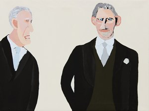 Prince Philip and Prince Charles by Vincent Namatjira contemporary artwork