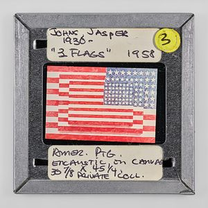 "JOHNS, JASPER 1930 - ""3FLAGS"" 1958 3 AMER. PTG. ENCAUSTIC on CANVAS 30 7/8 x 45 1/4 PRIVATE COLL. by Sebastian Riemer contemporary artwork"