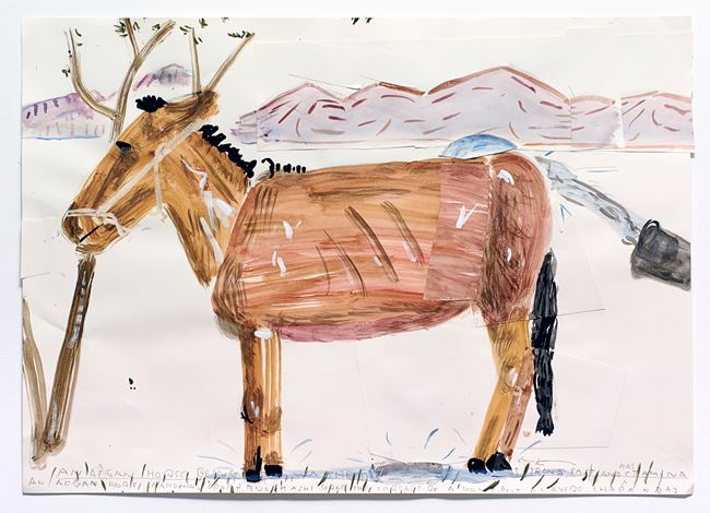 Afghan Horse Being Washed by Rose Wylie contemporary artwork