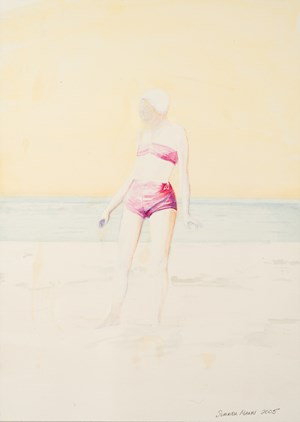 Untitled (Woman in pink bathing costume) by Summer Mann contemporary artwork