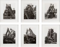 Blast Furnaces, Perspective View by Bernd & Hilla Becher contemporary artwork photography