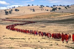 Salei Maasai Warriors Approach the Ceremonial Manyatta, Tanzania by Carol Beckwith & Angela Fisher contemporary artwork