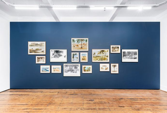 Exhibition view: Sue Williamson, Distant Visions: Postcards from Africa, Goodman Gallery, Cape Town (12 August–27 September 2021). Courtesy Goodman Gallery.