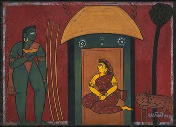 Jamini Roy, Sita/Ravan. Gouache on paper. 37 x 52 cm / 14.5 x 20.5 in. Courtesy Galerie Mirchandani + Steinruecke.