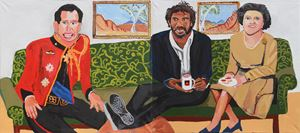 The Royal Tour (Charles, Vincent and Elizabeth) by Vincent Namatjira contemporary artwork