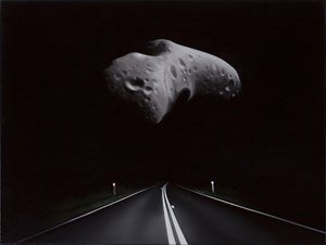 Near Earth asteroid with highway (Eros) by Tony Lloyd contemporary artwork