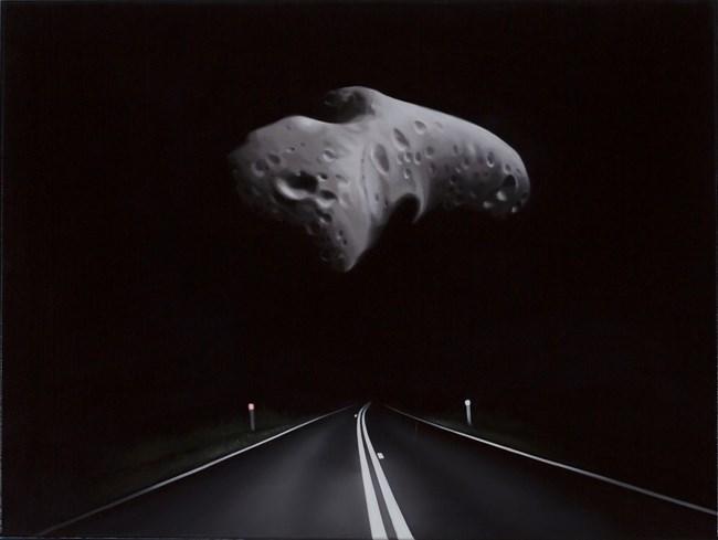 Near Earth asteroid with highway (Eros) by Tony Lloyd contemporary artwork
