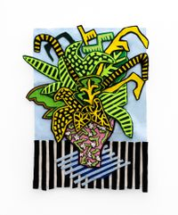 Stripey Blue Arrangement by Jody Paulsen contemporary artwork textile
