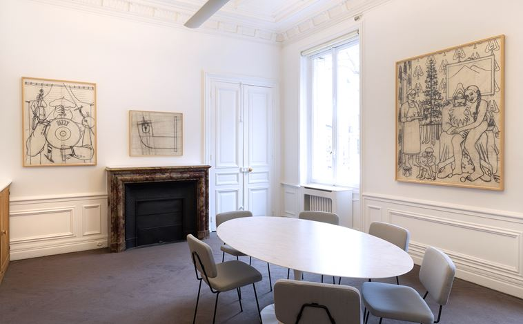 Exhibition view: Konrad Klapheck, Dessins (1974–2014),Galerie Lelong & Co., 13 Rue de Téhéran, Paris (12 March–30 April 2020). Courtesy Galerie Lelong & Co. Paris.