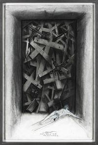 Etude pour la cathédrale de Port-au-Prince, Haïti by Ernest Pignon-Ernest contemporary artwork works on paper, drawing