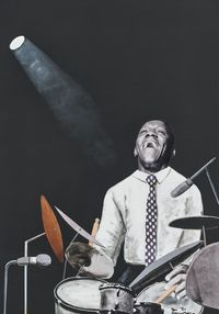 Art Blakey by Sam Nhlengethwa contemporary artwork mixed media