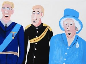 William, Harry and the Queen by Vincent Namatjira contemporary artwork