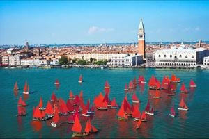 Red Regatta (Coppa del Presidente della Repubblica, Bacino San Marco) by Melissa McGill contemporary artwork