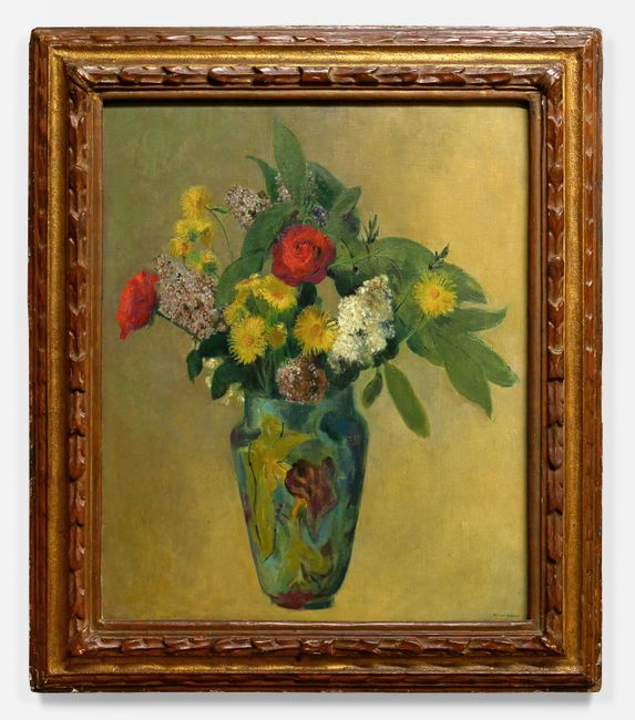 Pivoines, lilas, roses et feuillage dans un vase 1900 by Odilon Redon contemporary artwork
