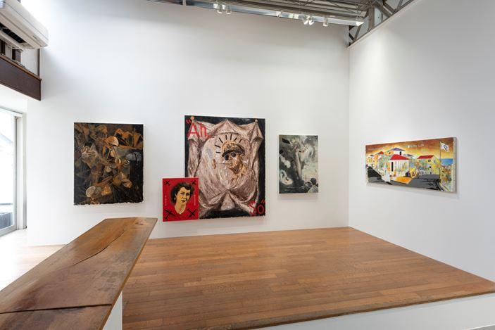 Installation view: Tadanori Yokooo, B29 and HomelandーFrom My Childhood to Andy Warhol, SCAI THE BATHHOUSE, Tokyo (31 May–6 July 2019).Courtesy the artist and SCAI THE BATHHOUSE. Photo:Norihiro Ueno.