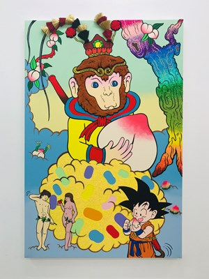 Monkey King and the Peach of Immortality by Yuree Kensaku contemporary artwork