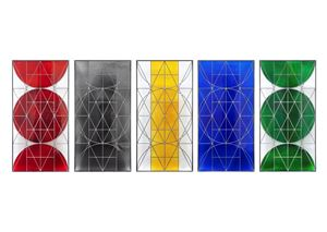 SUBJECTIVE GLASS 2010 / LANGUAGE GLASS 2010 / WORLD FRAMED GLASS 2010 / WORLD UNFRAMED GLASS 2010 / ELEMENT GLASS 2010 by Matt Mullican contemporary artwork