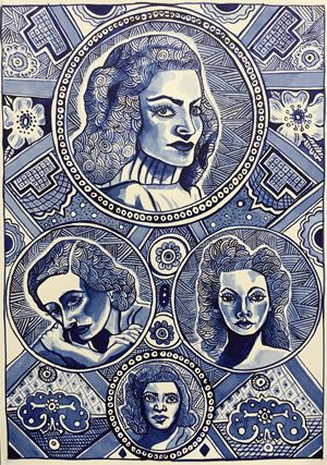 Blue Ladies by Sam Mitchell contemporary artwork