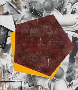 Untitled (Red Pentagon on Yellow Pentagon) by Barry Reigate contemporary artwork