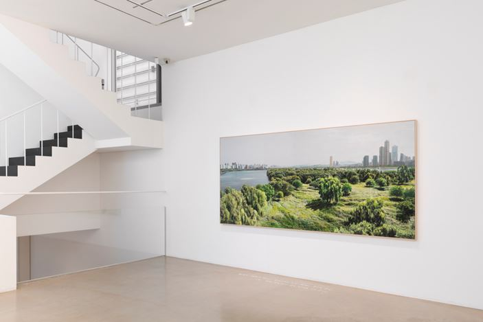 Honggoo Kang, Study of Green-Seoul-Vacant Lot-Bamseom (Islet) (2019). Pigment print and acrylic on canvas. 100 x 300 cm. Courtesy ONE AND J. Gallery.