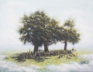 Réunion (hommage à Théodore Rousseau) by Rubén Fuentes contemporary artwork