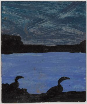 Untitled (Two blackbirds night sky black headlands blue bay) by Frank Walter contemporary artwork