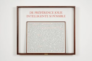 De préférence jolie Intelligente si possible by Sophie Calle contemporary artwork