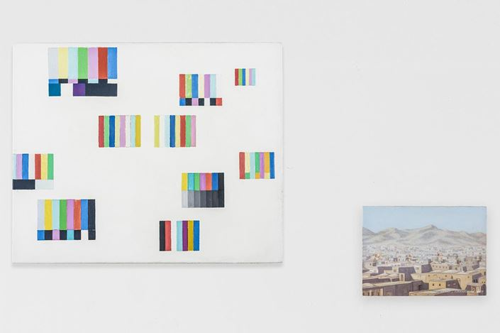 Francis Alÿs. (left) Untitled, 2011, Oil on canvas on wood. 29 x 35.5 cm. (right) Untitled, 2011, Herat, Afghanistan Oil on canvas, 12.5 x 17.5 cm. Courtesy the artist & Jan Mot, Brussels & PKM Gallery, Seoul.