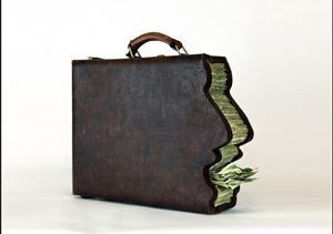 Greedy man's briefcase by Icy and Sot contemporary artwork