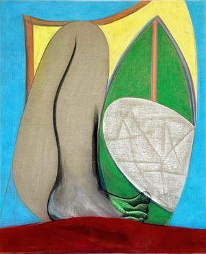 Big Composition 1 (Yellow Foot) by Aurélie Gravas contemporary artwork