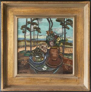 Untitled (Still life with flowers in a landscape) by Frances Hodgkins contemporary artwork