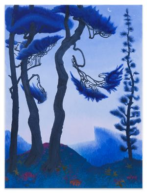 Blue Spruce and Waning Crescent Moon by Inka Essenhigh contemporary artwork