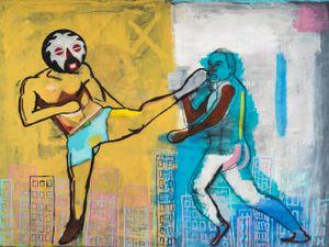 Retribution: Sometimes I kick my own ass by Khaleb Brooks contemporary artwork painting