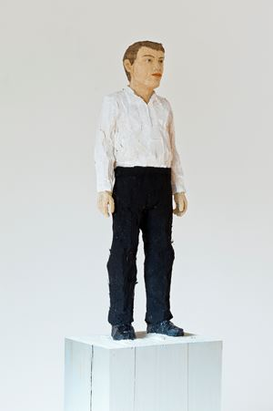 man with white shirt and black trousers by Stephan Balkenhol contemporary artwork