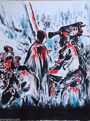 The Film Director and Death by Sun Xun contemporary artwork