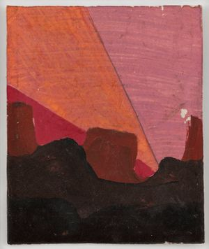 Untitled (Black and brown with orange pink and red rainbow) by Frank Walter contemporary artwork