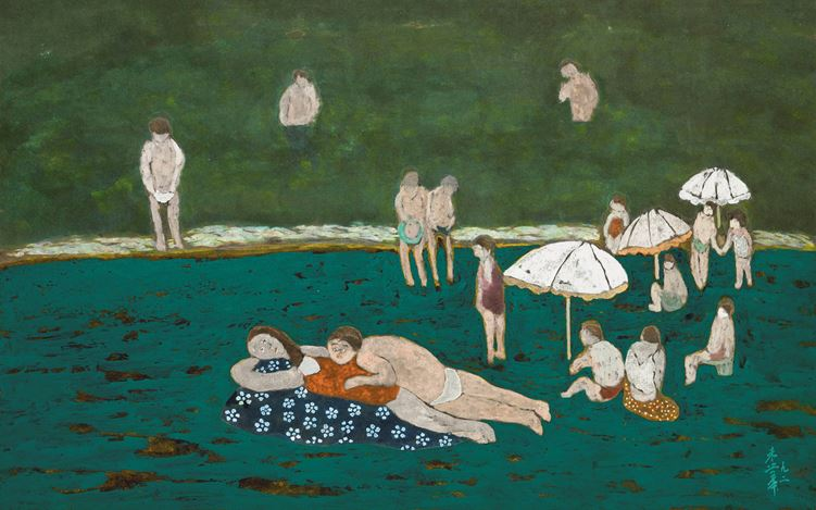 CHU Hing Wah, On the Beach (1992). Ink and Colour on Paper. 47.8 x 68.8 cm. Courtesy Hanart TZ Gallery, Hong kong.
