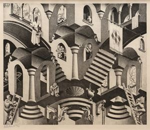 Convex and Concave by M.C. Escher contemporary artwork