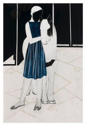 Horse/blue dress (R&M) by Iris Schomaker contemporary artwork