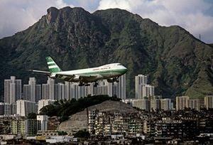 'Lions Rock, Cathay Pacific Jet and Kowloon Walled City', Hong Kong by Greg Girard contemporary artwork