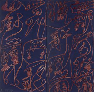 Cursive Calligraphy in Gold and Ink by Wei Ligang contemporary artwork painting, works on paper, drawing