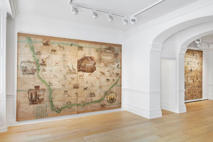 Exhibition view: Group Exhibition,Made Routes: Mapping and Making, Richard Saltoun Gallery, London (30 August–26 September 2019). Courtesy Richard Saltoun Gallery.