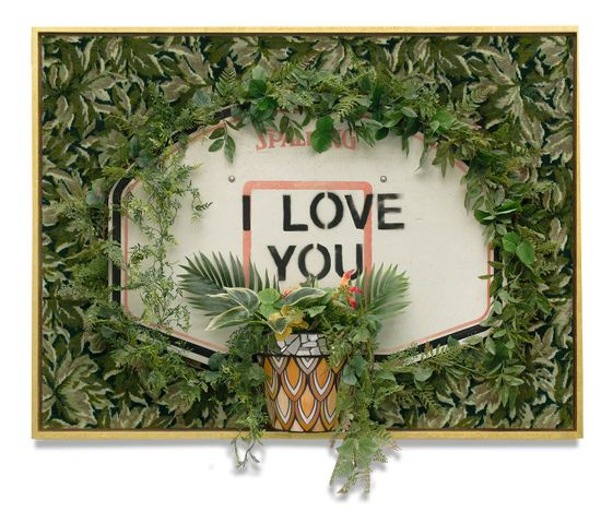 Carlos Rolón,Untitled (I Love You)(2020). Repurposed carpet, found basketball backboard, ceramic mirror, glass, artificial vegetation and gold leaf on wood. 161.3 x 120.7 x 36.8 cm. Courtesy the artist and Salon 94, New York.