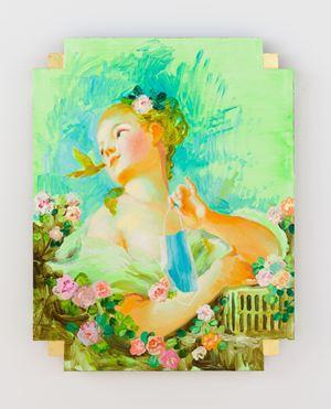 Jeune fille délivrant un oiseau de sa cage (After Fragonard) by Tursic & Mille contemporary artwork