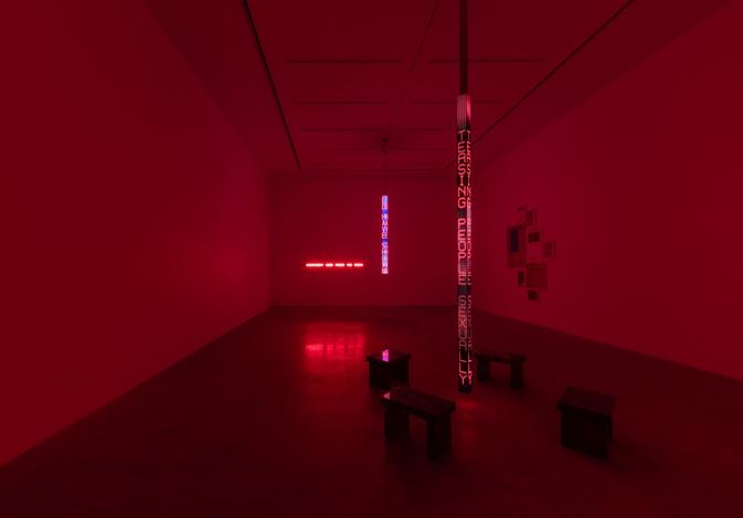 Exhibition view: Jenny Holzer, IT'S CRUCIAL TO HAVE AN ACTIVE FANTASY LIFE, Kukje Gallery K2 and K3, Seoul (10 December 2020–31 January 2021). Courtesy Kukje Gallery.